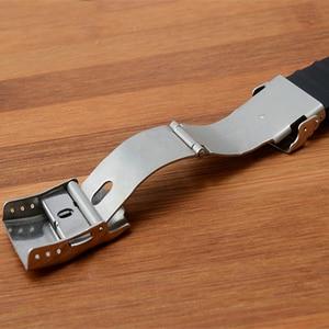 Image 2 - Marca 24mm x 11mm preto de alta qualidade silicone borracha pulseira relógio à prova dwaterproof água dobrável fivela aquis pulseira para oris