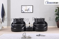 Mybestfurn Modern Black Sofa Made Of Thick Italian Leather Filled With Feather Down Sofa Table Set