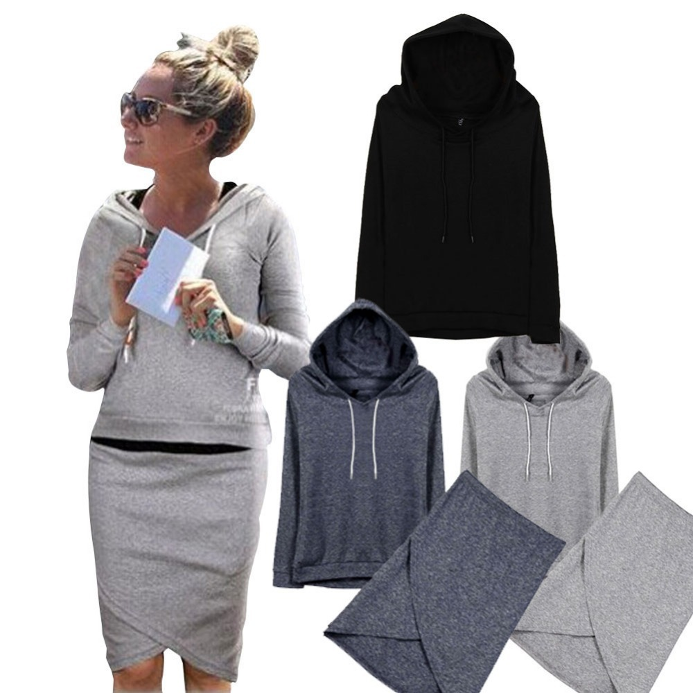 2017 New Listing Autum Clothing For Women Plus Size Women's Long Sleeve Hoodies Sweatshirts+Skirts Sets Casual Suit Tracksuits