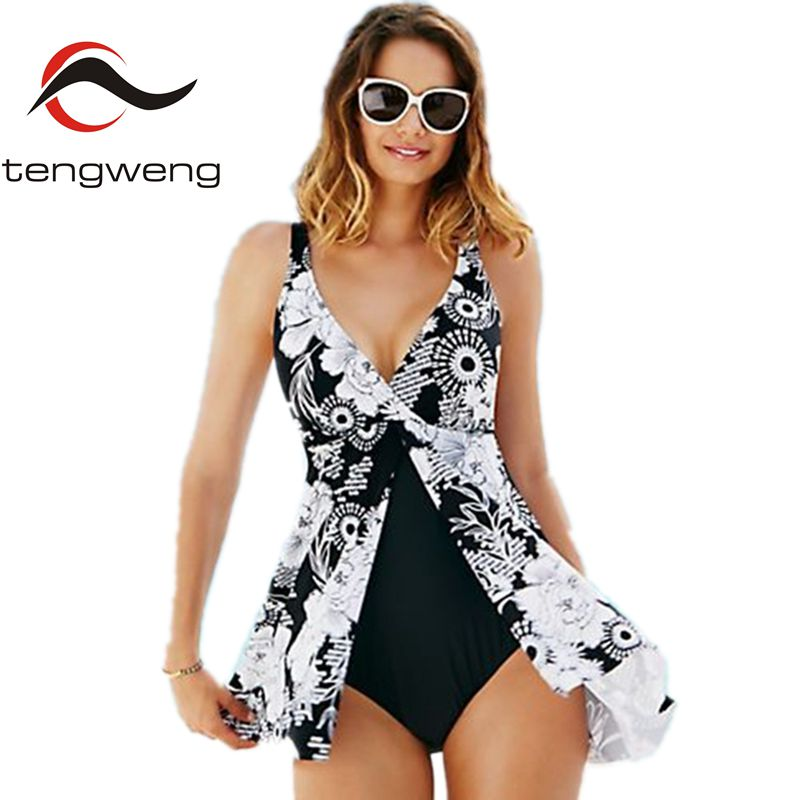 Tengweng Sexy Black Plus Size Floral One Piece Swimsuit 2017 Women Sport Deep V neck Print Swimwear Bath suit Skirt Monokini 5XL dkny new deep solid black career women s size 10 straight pencil skirt $215