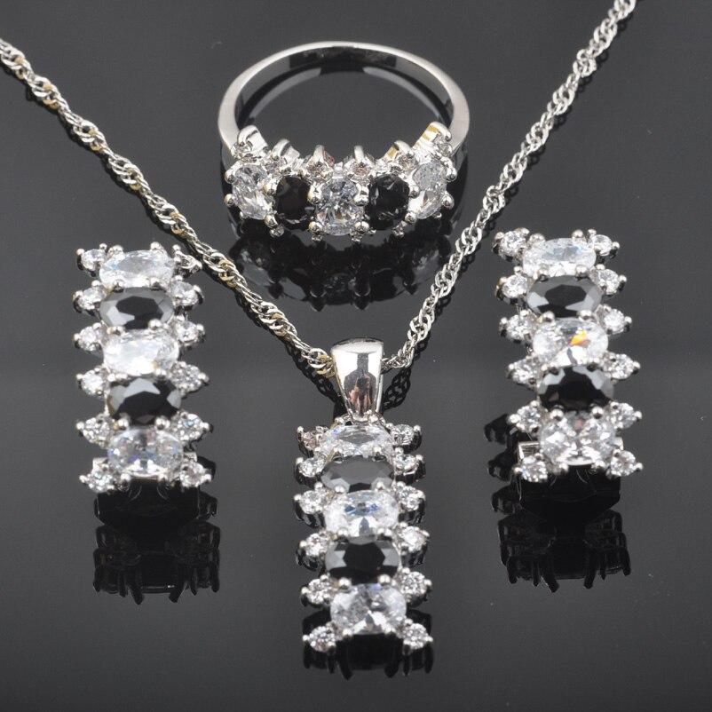 FAHOYO Wanderful Black White Zirconia Women's 925 Sterling Silver Jewelry Sets Earrings/Pendant/Necklace/Rings QZ0560