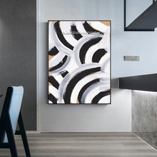 Black White Geometric Modern Abstract Oil Painting on Canvas Acrylic Quadros Cuadros Nordic Wall Art Pictures for living room