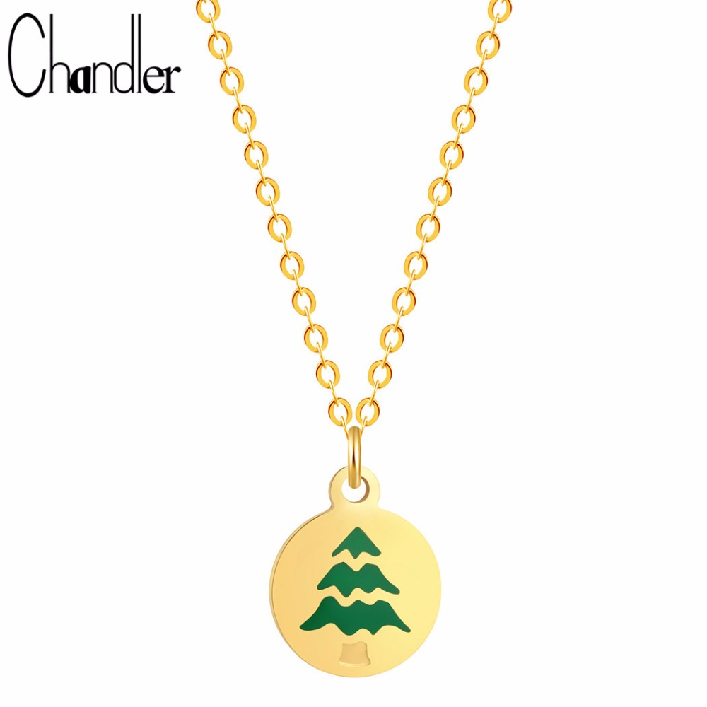 Chandler 2017 New Arrival Blue Christmas Tree Pattern On Round Charm Necklaces Invisible Link Chain Torque Party Christmas Gift