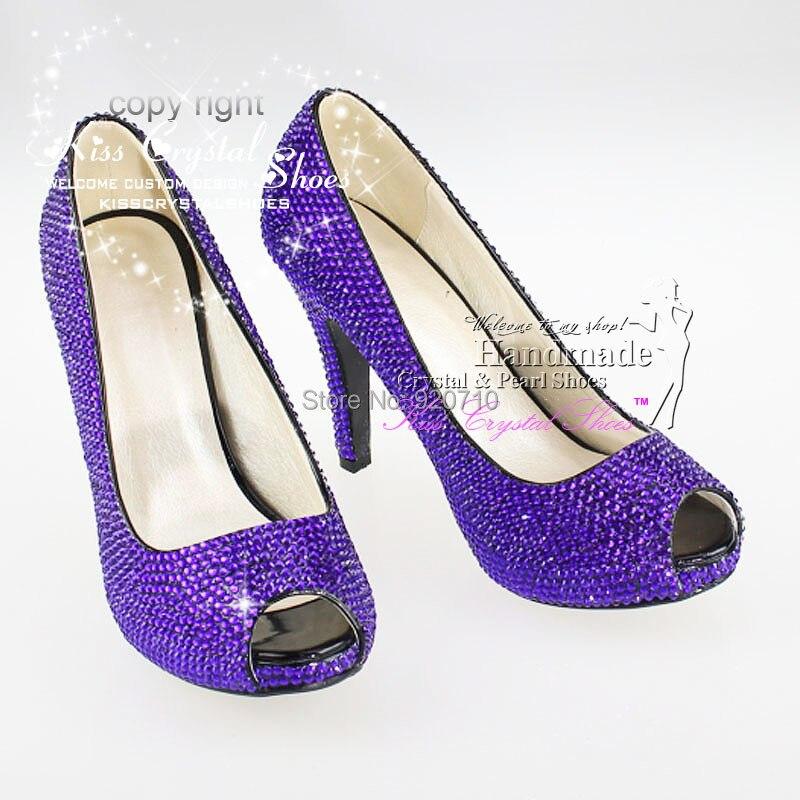 handmade 4 inches Low Heel Violet Cystal Wedding Shoes Glitter Heels ...