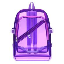 Unisex Women/Men PVC Clear Waterproof Backpacks Teen Hologram Shoulder  Schoolbags Girls Solid Bright Transparent