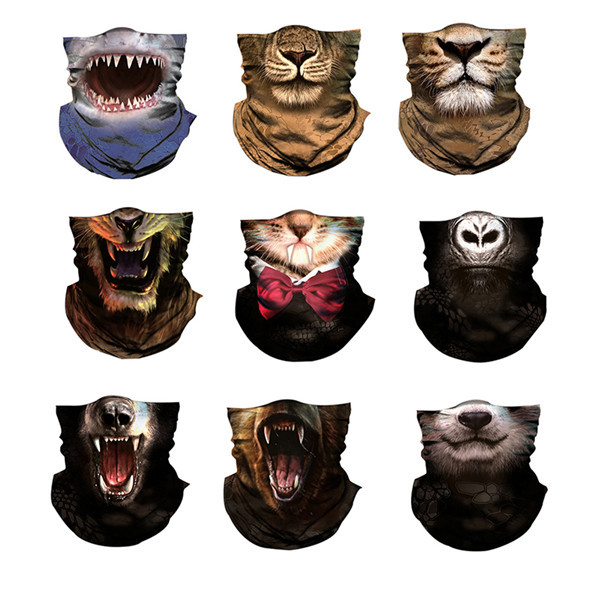 Outdoor riding mask 3D men women sunscreen animal print riding a variety of magic headscarf collar hood