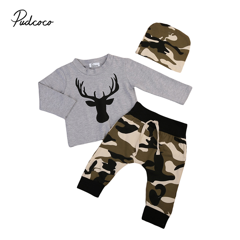 2017 Camouflage Newborn Baby Boy Clothes Long Sleeve Deer T-shirt Grey+Camo Pant Hat 3PCS Outfits Toddler Kids Clothing Set 2017 new camouflage baby clothes daddy s boy girl short sleeve t shirt tops pant outfit toddler kids clothing set 0 24m