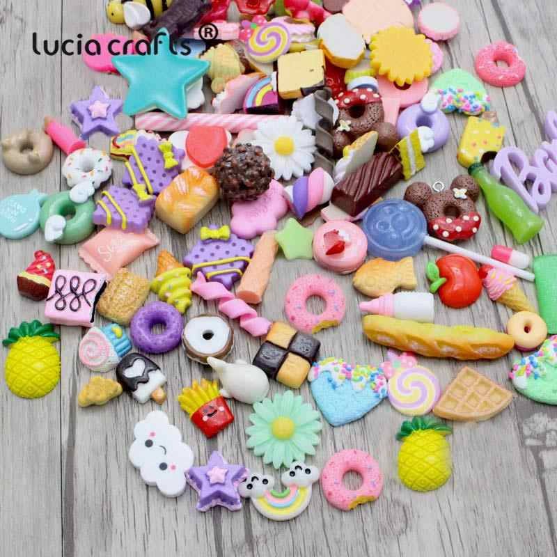 24pcs Random Mix Colors shape Cute Resin Flatback Cabochons for Mobile Phone Decoration Scrapbooking Diy Crafts F1309