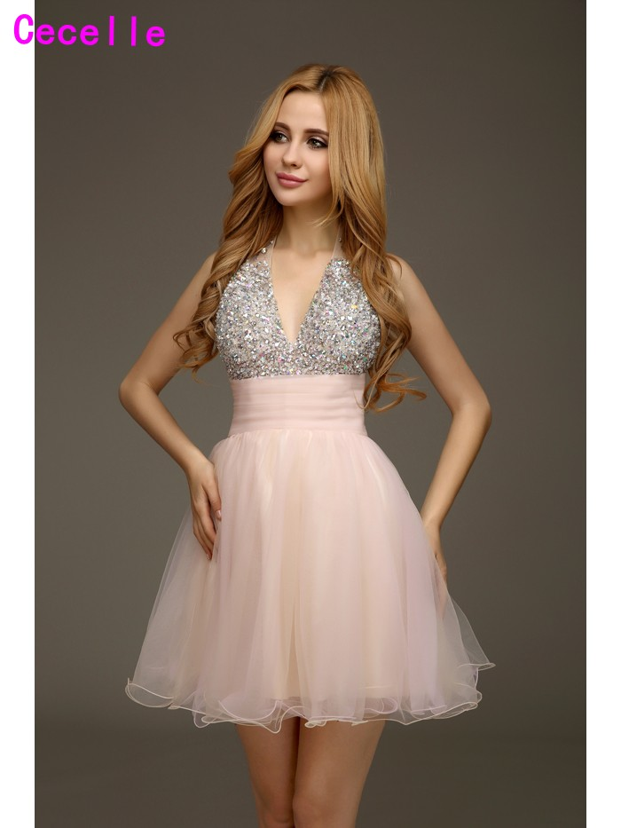 Real Sexy Blushing Pink A-line Beaded Tulle   Cocktail     Dresses   for Juniors Halter Cute Robe De   Cocktail   Prom Party   Dress   Custom