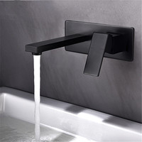 Bathroom Basin Faucet Wall Mounted Matte Black Sink Mixer Tap Single Handle In Wall Sink Faucet 2 Holes Hot & Cold Basin Faucet