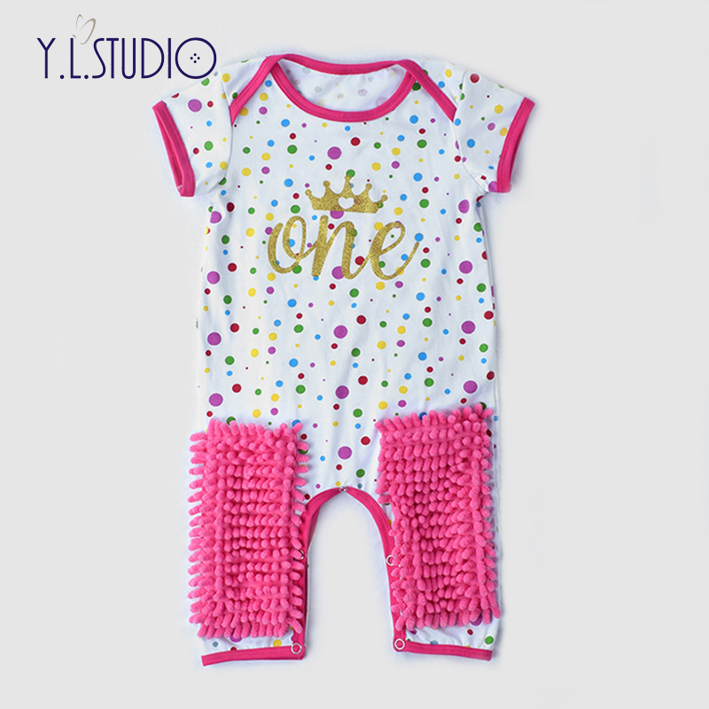 c31bf85c26d13 US $8.74 25% OFF|Baby Rompers 1 Birthday Party Children Clothes Summer Girl  Boy Baby Mop Romper Letter Crown Newborn baby girl clothes christmas-in ...