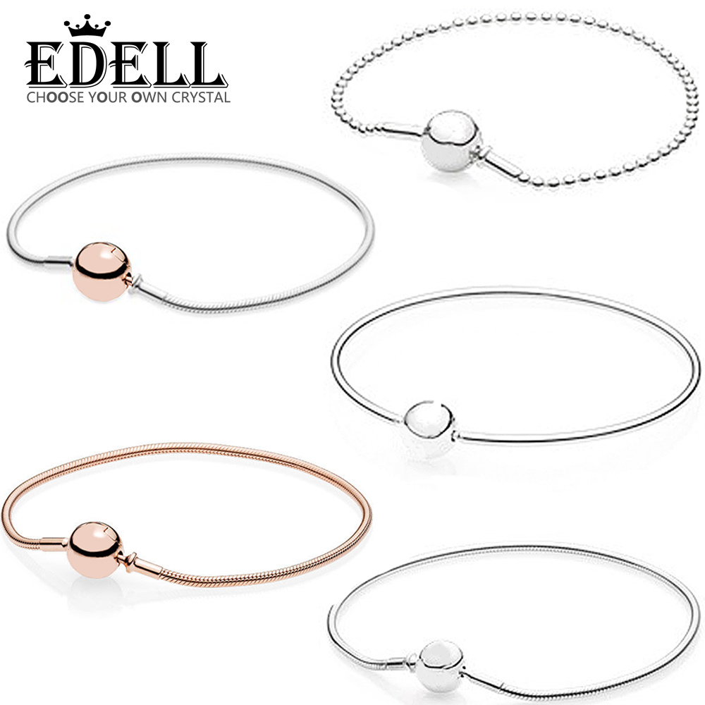 EDELL 100% 925 Sterling Silver Classic Logo Round Chain Rose Gold Gold Color Bracelet Bangle Bracelet for DIY Ladies  Jewelry EDELL 100% 925 Sterling Silver Classic Logo Round Chain Rose Gold Gold Color Bracelet Bangle Bracelet for DIY Ladies  Jewelry