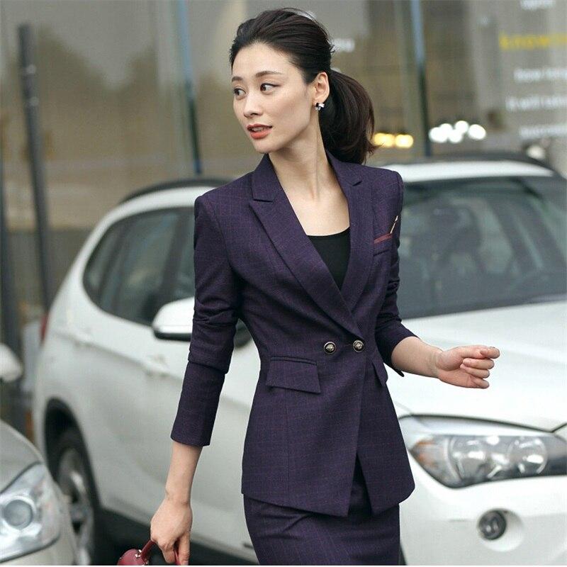 2 piece purple Pant Suits Formal Ladies Office OL Uniform Designs Women elegant Business Work Wear Jacket with Trousers Sets