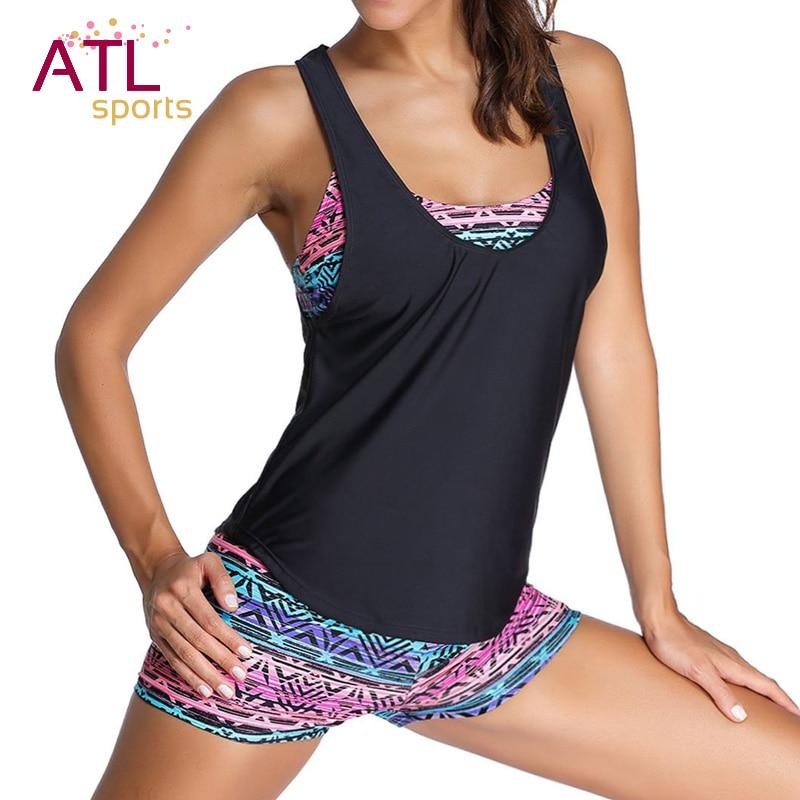 3 Pieces Bikini 2017 Plus Size Swimwear Female Black Retro