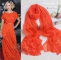 Женщин пашмины шарфы musilim хиджаб для детей 100% чистого натурального шелка платок Оранжевый красный модный бренд дизайнер пашмины и shawlsl