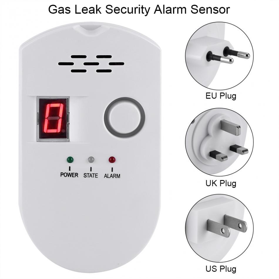 Numérique LCD Détecteur de Gaz GPL GNV Charbon de Fuite de Gaz Naturel Capteur D'alarme Avertissement Détecteur Pour La Maison Cuisine Système D'alarme