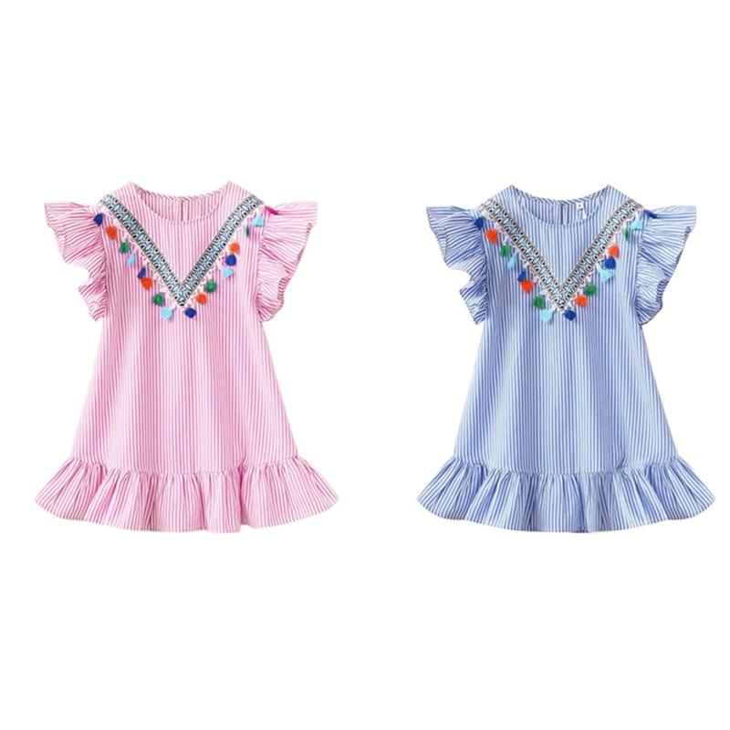 2019 New Summer Girls Tassel Flying Sleeve Dresses Stripe Cute Kids Party Dresses For Kids Toddler Girls Princess Dress Clothes