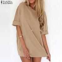 ZANZEA 2016 Summer Style Fashion Women Casual Loose Dress Sexy Ladies Short Sleeve Solid Color Mini