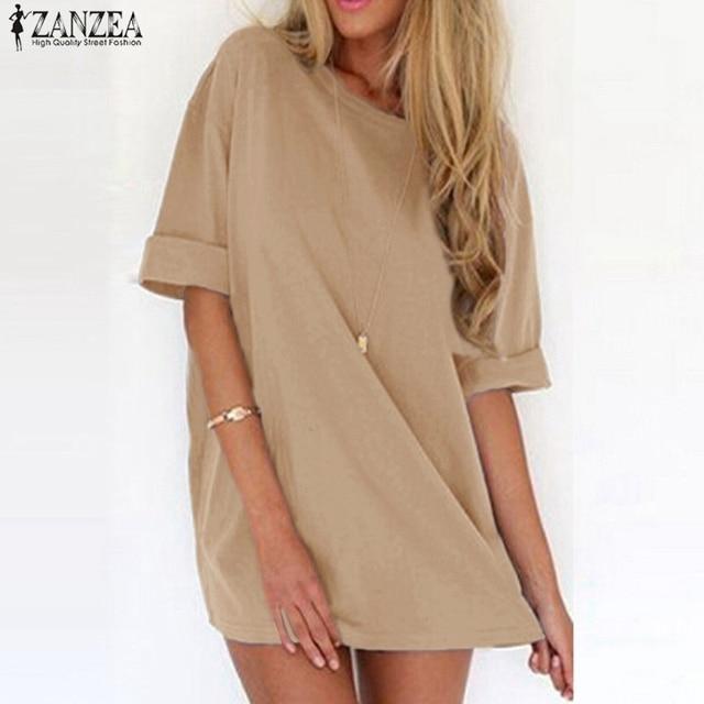 ZANZEA 2017 Summer Style Fashion Women Casual Loose Dress Sexy Ladies Short Sleeve Solid Color Mini Dresses Vestidos Plus Size