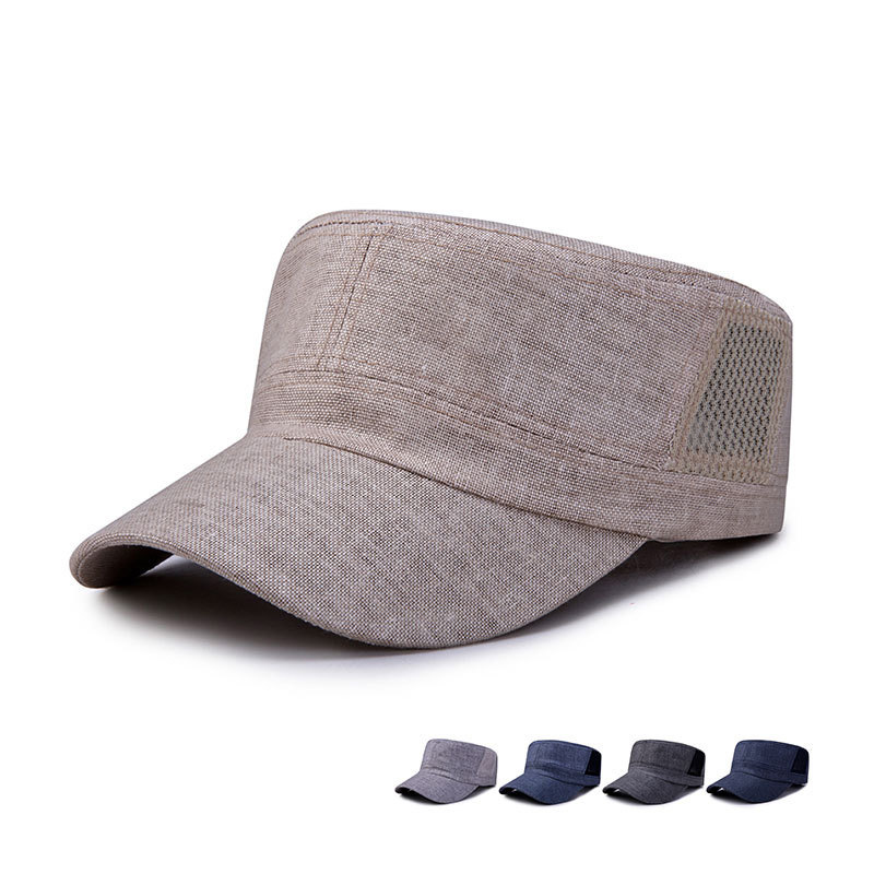 2019 Fashion VintageCasual Breathable Linen Hat Unisex Women Men Flat Top Military Hat Cadet Patrol Snapback Baseball Caps