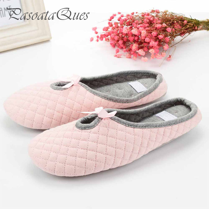 Cute Bowtie Winter Women Home Slippers For Indoor Bedroom House Soft Bottom Cotton Warm Shoes Adult Guests Flats Christmas Gift cute sheep animal cartoon women winter home slippers for indoor bedroom house warm cotton shoes adult plush flats christmas gift