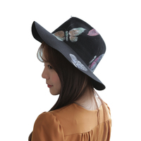 New Vintage 2017 Korea Hand Painted Real wool Fedoras Hats For Women Men Unisex Hat Cap Casual Floppy Wide Brim Free Shipping