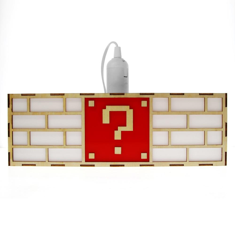 Coloré jeu vidéo point d'interrogation bloc suspension lampe créative en bois plafond pendentif lumière élégante lampe cadeau pour amoureux de jeu enfants - 3