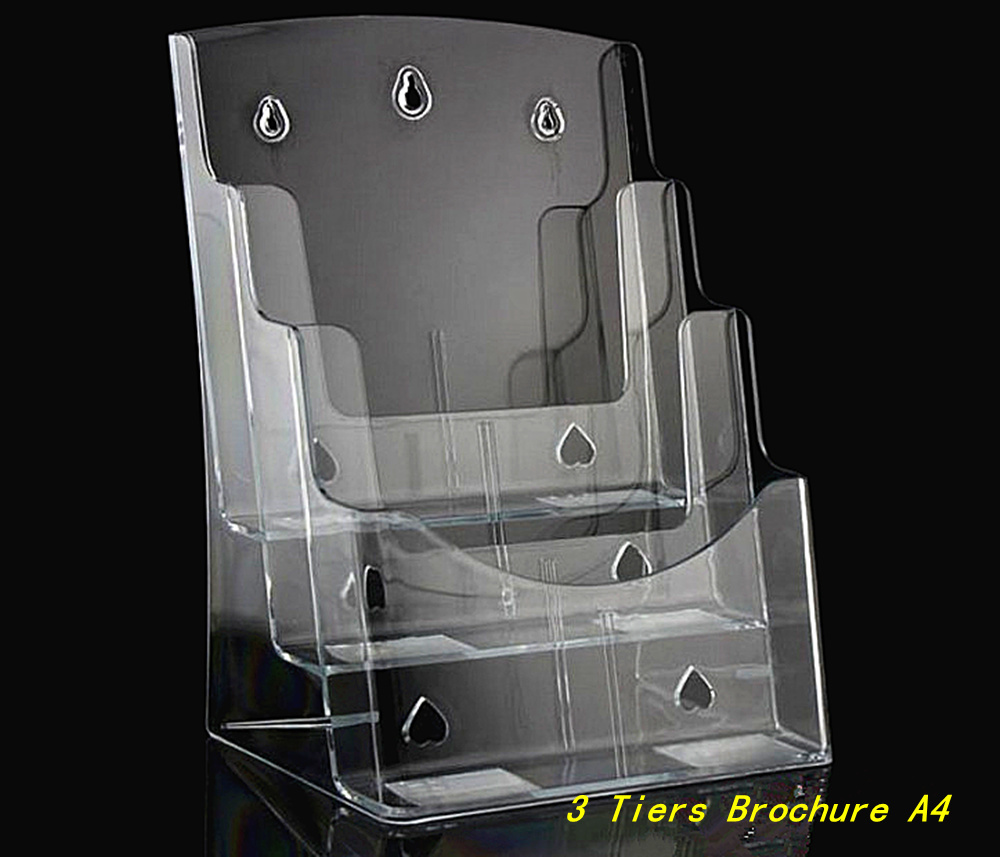 Clear 3 Tiers Plastic Acrylic Brochure Literature Pamphlet Display A4 Holder Racks Stand To Insert Leaflet 20pcs a4 4 layer half page brochure holder book data file holder display rack acrylic data file brochure display stand