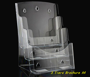 Clear 3 Tiers Plastic Acrylic Brochure Literature Pamphlet Display A4 Holder Racks Stand To Insert Leaflet 20pcs