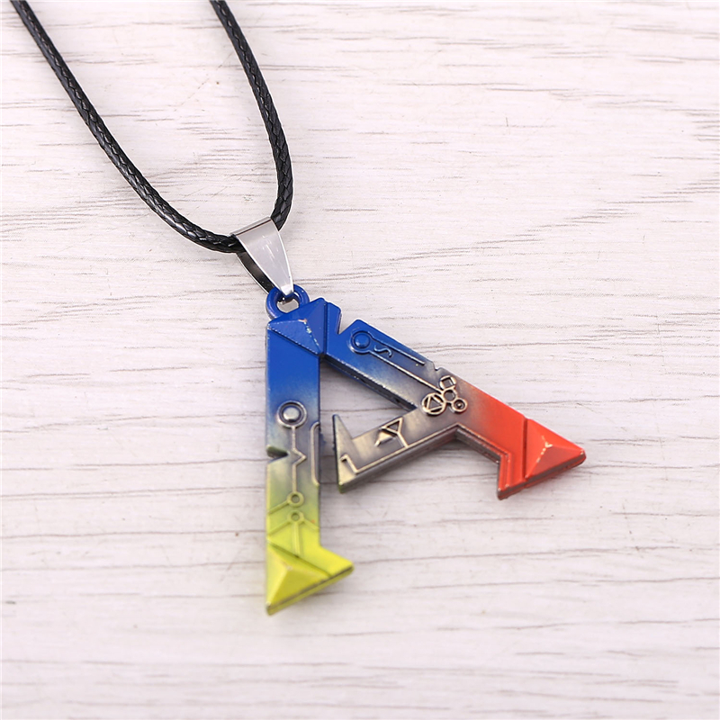 J Store ARK Survival Evolved Pendant Necklace Vintage Game Symbol Multicolor Choker Necklaces for Women Leather Chain Jewelry