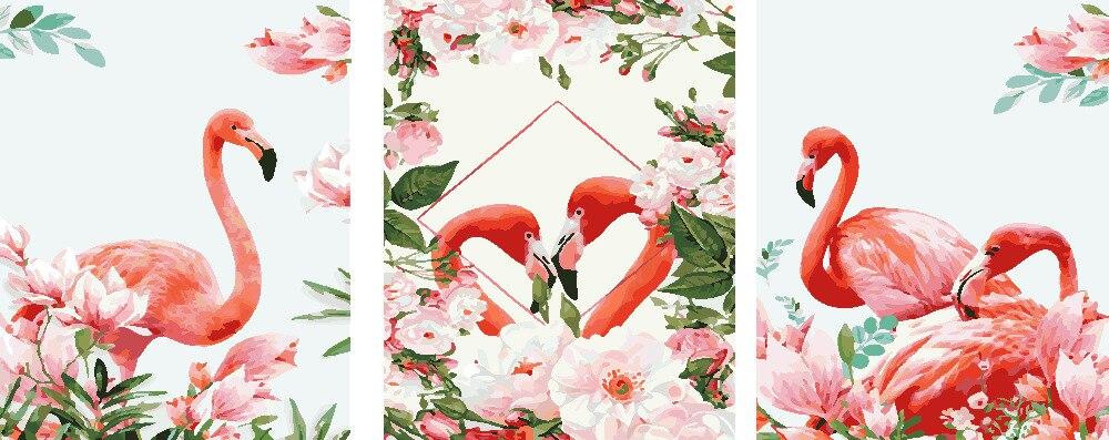 YKXLLW Flamingo amant 3 pièces en 1 peinture à l'huile image par numéros dessin coloriage par numéros peinture à la main salon décoration