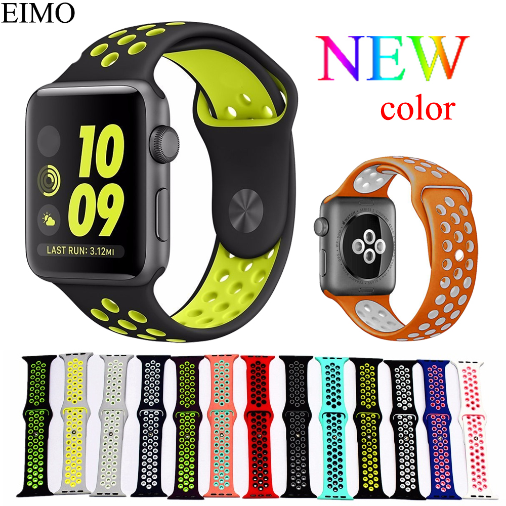 Silicone Strap for Apple Watch Band 42mm 38mm iwatch 3/2/1 Nike Sport bands Bracelet Watchband stainless steel Adapter correa цена