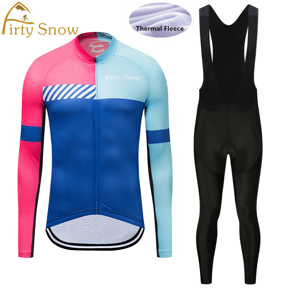 2018 winter team Firty Snow pro cycling jersey pants set Ropa Ciclismo MTB thermal fleece windproof cycling wear bike clothing
