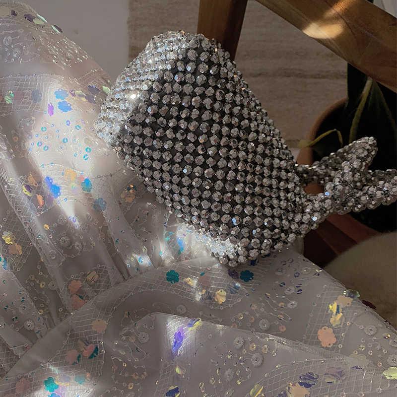 Claro Frisado Mulheres Bolsa Sacos de Pérolas De Luxo Feitos À Mão Para As Mulheres de Cristal Pérolas Meninas Festa À Noite Saco Da Forma Saco Ocasional Tote 2019