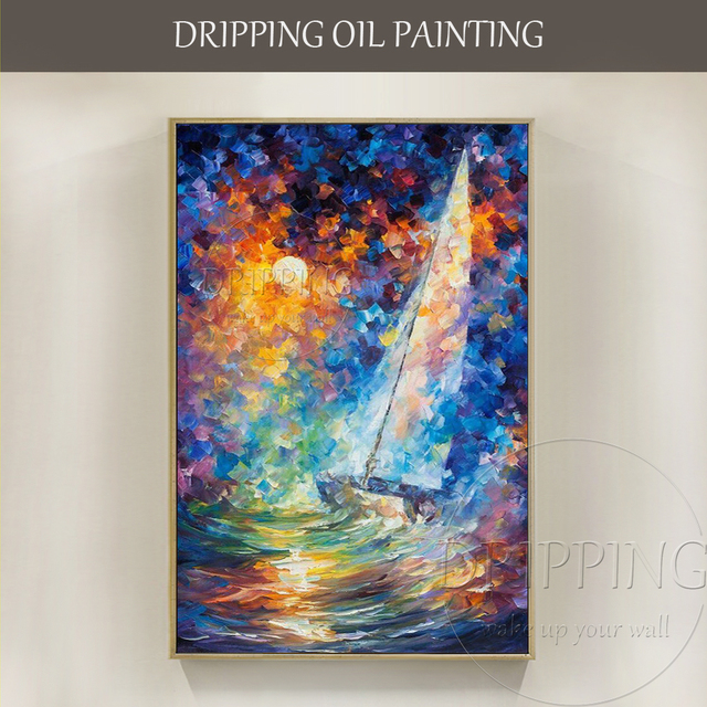 High Quality Vivid Colors Abstract Landscape Oil Painting Decor Hand Painted Knife Textured Colorful