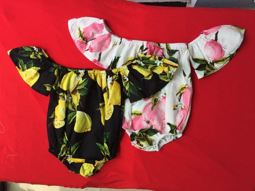 2017 Infant Baby Girls Print Lemon Rompers Toddler Fashion Off shoulder Jumpsuits Babies Summer Cute Romper