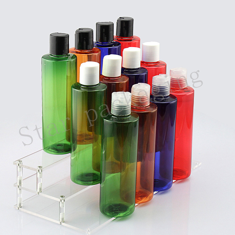 40pcs lot 250ml multicolor round plastic empty cosmetic packaging travel bottles 250cc with disc top