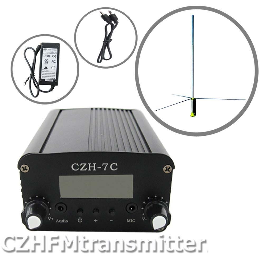 CZH CZE 5w 7w FM stereo PLL transmitter 1/2 WAVE FM antenna + Power supply kit