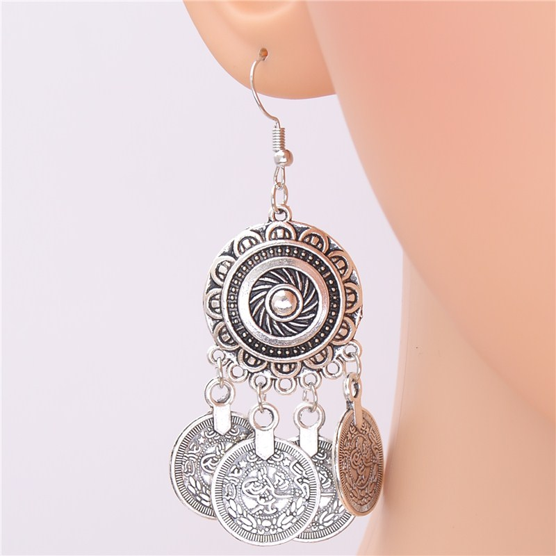 1Pair Vintage Palace Flowers Tassel Round Circle Drop Earrings With Carved Coin Tassels Jewelry For Women E963