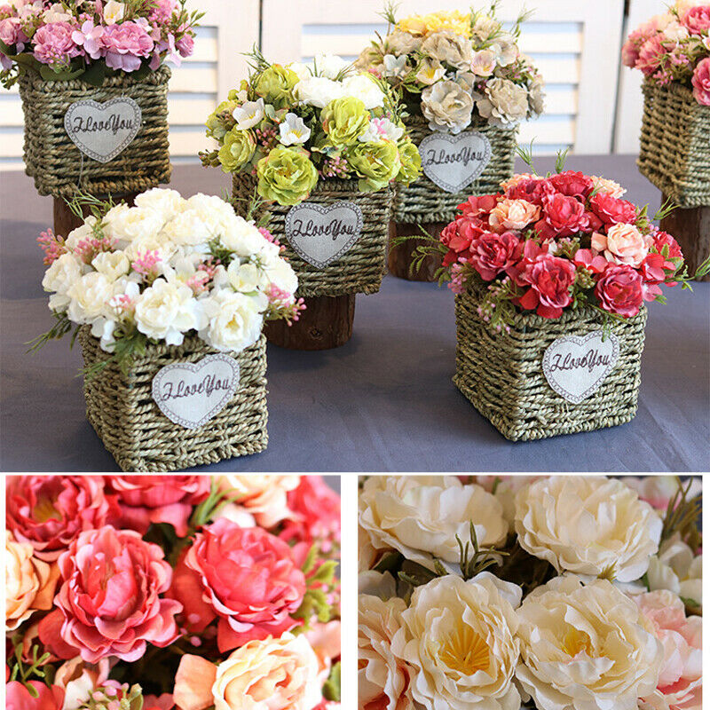 Fake Rose Artificial Silk Peony Pink Flowers Bridal Wedding Bouquet Home Decor Artificial Decoration