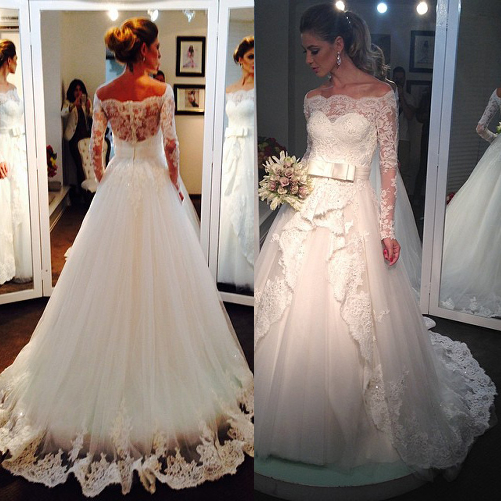 MZYW0198 off shoulder full long sleeve lace wedding dress ...