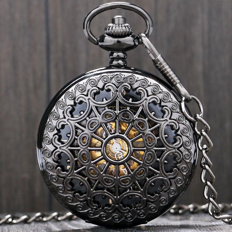 Black Metal Hollow Hand Wind Mechanical Pocket Watch Steampunk Watches Men 30cm Chain Gift P806C
