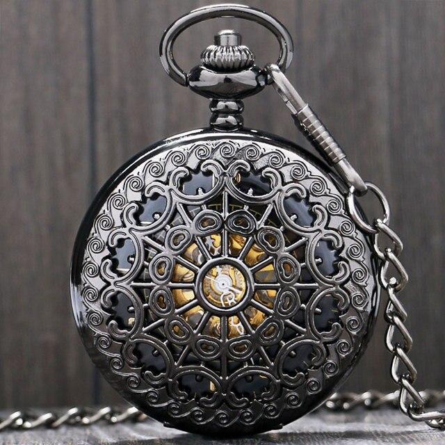 Black Metal Hollow Hand Wind Mechanical Pocket Watch Steampunk Watches Men 30cm