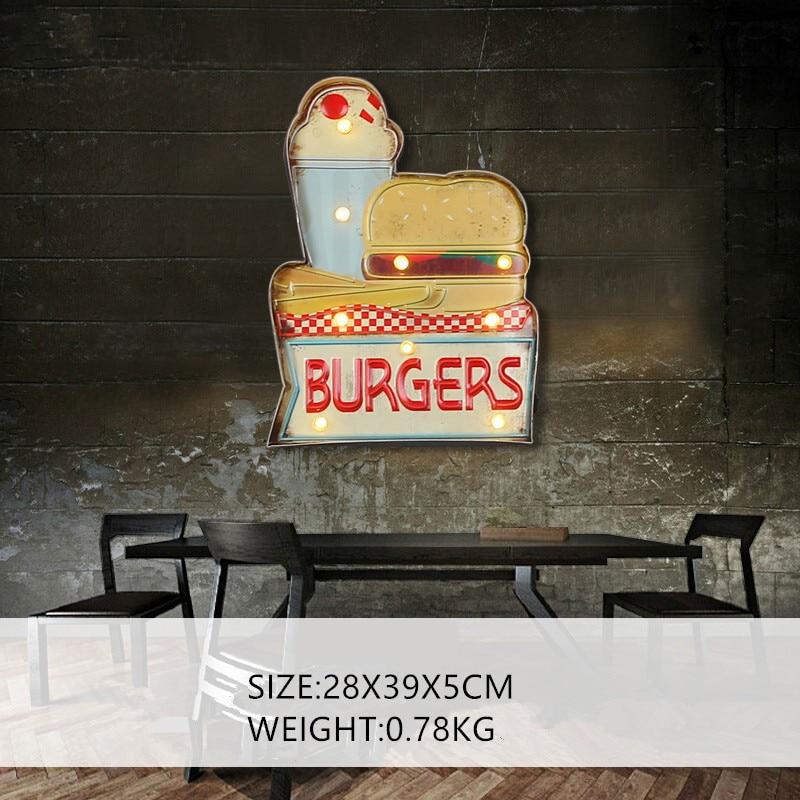 Hamburgers LED métal signe décoratif peinture Bar café enseigne signalisation maison mur décor illuminé suspendus néon signes A851-in Plaques et enseignes from Maison & Animalerie    1