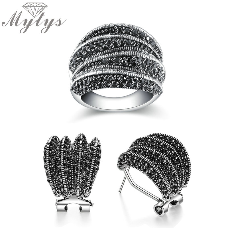 Mytys Black Marcasites Rings Earrings Sets For Women Antique Stud Earrings Geometric Cross Ring Sets Retro Vintage Jewelry Sets