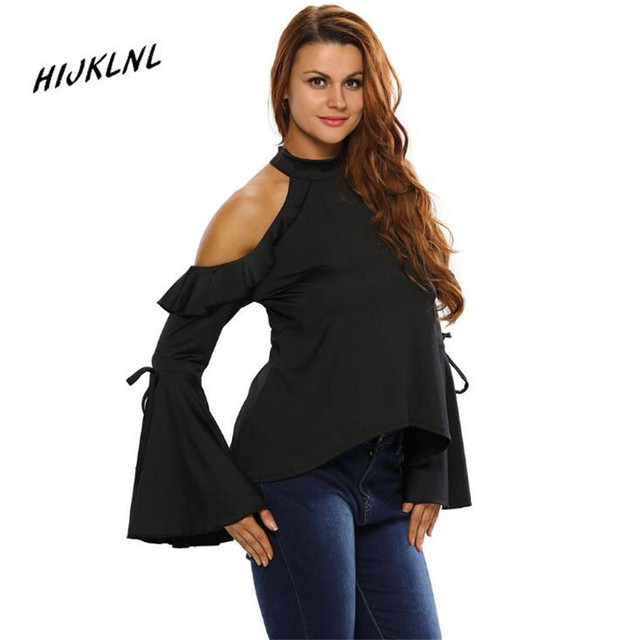 HIJKLNL womens long sleeve polo shirt new high-neck long sleeve behind the button stitching lotus leaf casual shirt JX213
