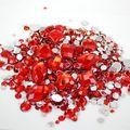 Mixed Sizes Red Color Round Acrylic Loose Non Hotfix Flatback Rhinestones Nail Art 1000pcs Stones For Wedding Clothing Decorate