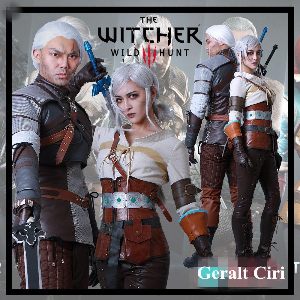 Anime! The Witcher 3: chasse sauvage Geralt Ciri tenue de Combat uniforme gothique Costume de Cosplay Costume de scène Halloween livraison gratuite