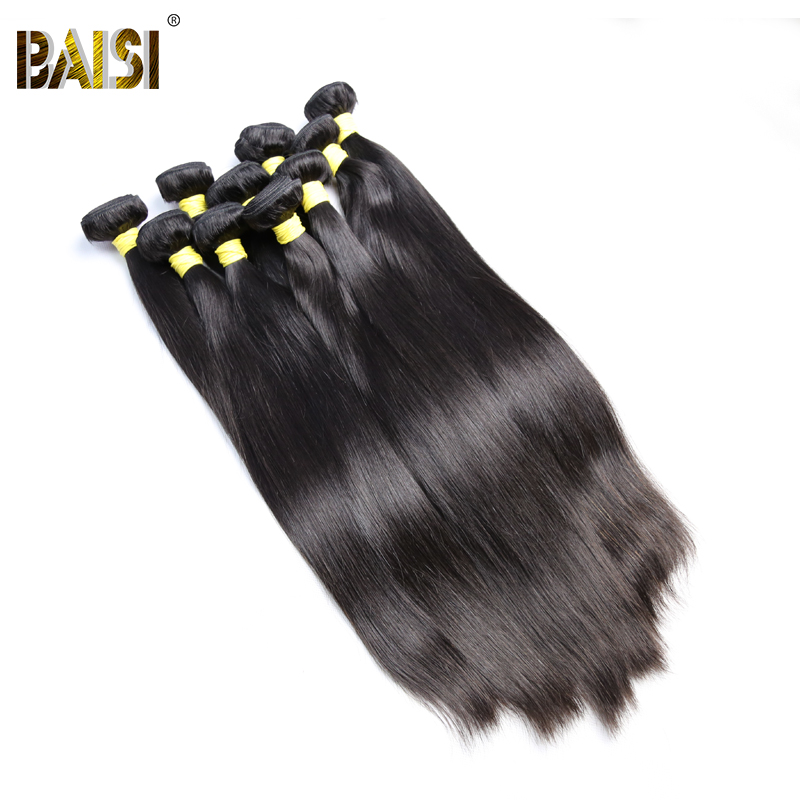 BAISI Hair,100% Unprocessed Human Hair Peruvian Virgin Hair Straight Extension,Natural Color,8-30inch, Wholesale 10Bundles/Lot ...
