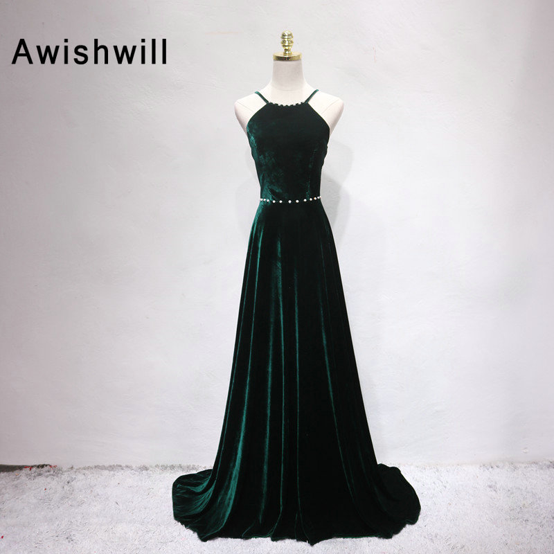 Dark Green Velour Long Evening Dresses 2019 Arabic Flare Sleeves Floor Length Women Formal Evening Prom Gown With Beads Dqg731 Cheapest Price From Our Site Weddings & Events